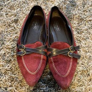 Coach Burgundy Suede Dark Brown Leather Trim Flats